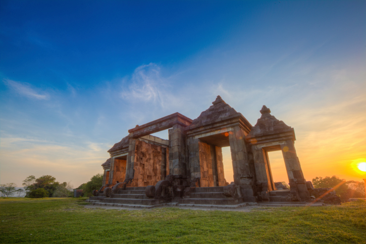 Sunset at Gate of Ancient palace Ratu Boko in Indonesia